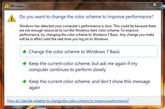 Windows 7 Display Alert